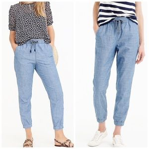 J, crew Point Sur Seaside Pant In Chambray size 8